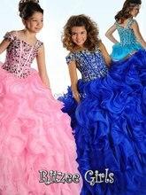 Квітковий дівчаток-сукня 2015 р. Красуня вишукана сукня кришталева вестидол довга формальна вечірня вечірня сукня-вечірня вечірня сукня