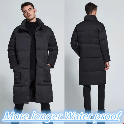 2017 Real Down Coat Male Ultra Long Over-the-knee Lengthen Thickening Overcoat Stand Collar Winter Slim Commercial Medium-long
