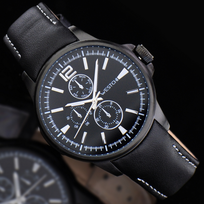 2016 hot sale top luxury brand WHESTCHI quartz sports genuine leather high qulity three dial watch