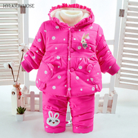 HYLKIDHUOSE 2017 Winter Infant Clothes Sets Cartoon Baby Girls Suits Outdoor Thick Soft Coats Pants Children