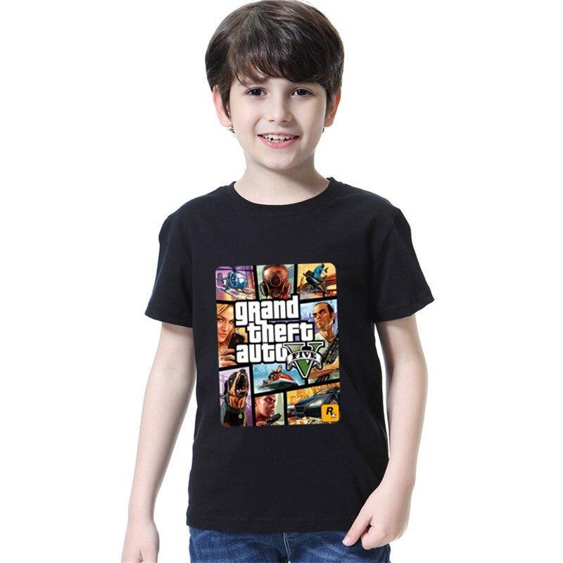 HOT Boys Girls T Shirt 1 gta T Shirt gta Street Fight Clothes Children Cotton gta 5 Tees Short Sleeve Kids Game Clothes 2021 1