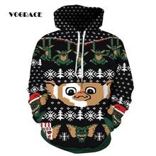 VOGRACE New Fashion Men/ Women 3d Sweatshirt Hoody Christmas Monkey Frog Bats Snowflake Neutral Hooded Hoodie Thin Jacket Couple
