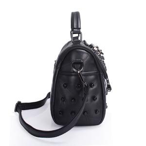 Image 4 - JIEROTYX ผู้หญิงจริงแยกแกะหนัง Messenger กระเป๋า Rivet Skull Tote กระเป๋าถือ Crossbody Bolsas Femininas Black Gothic