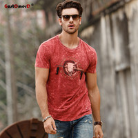 GustOmerD 2017 Fashion New Summer T Shirt Men Brand Clothes O Neck Slim Fit Mens Casual