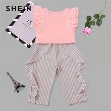 Шеин малыш жабо топ с рюшами полосатые брюки комплект повседневная детская подростковая одежда для девочек 2019 корейский модный костюм детская одежда