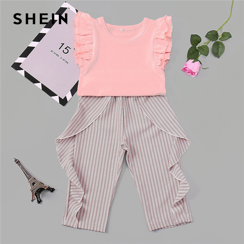 SHEIN Toddler Frill Top With Ruffle Striped Pants Set Casual Child Teenage Girls Clothing 2019 Korean Fashion Suit Kids Clothes girls striped detail top
