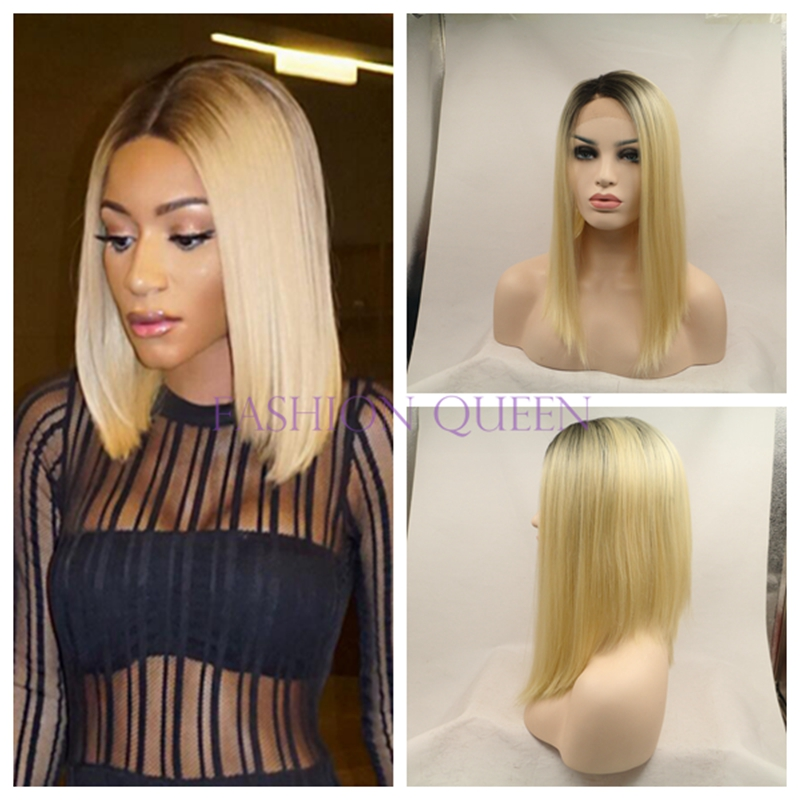 ФОТО Black to Blonde straight bob wig hand made synthetic lace front bob wig Natural hair ombre short hair synthetic wig for woman