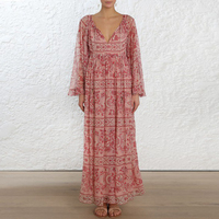 2019 Spring ZIM Designer Bohemian Floral Print Dress Women Vintage Ruffles Flare Sleeve Maxi Dresses Female Holiday Dress