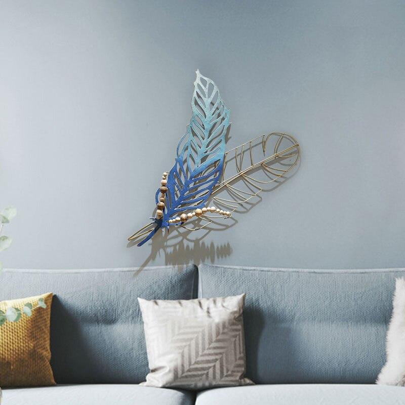 Méditerranéen 3D stéréo en fer forgé plume tenture murale décorative artisanat décoration salle de bain chambre miroir Orn R2141