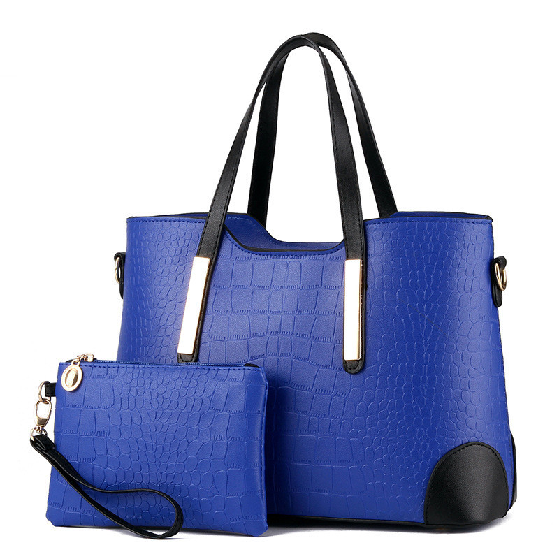 Women Bag Vintage Messenger Bags Shoulder Handbag Women Top-Handle Crocodile Pattern Composite Bag Purse Wallet Leather