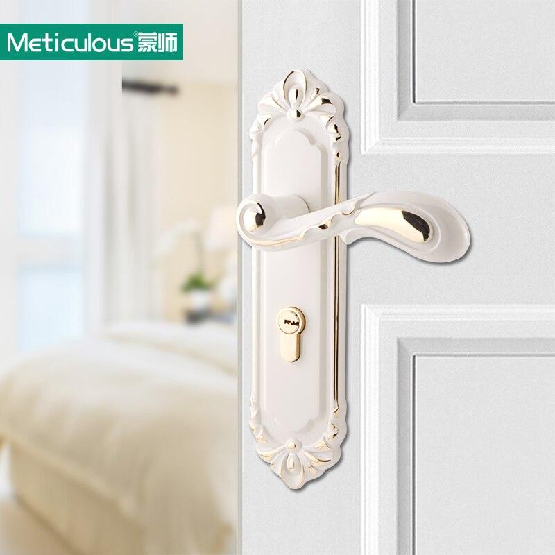 Meticulous European Ivory White Interior Door Lock Indoor Latch Bolt Room Door Security Panel Steel Lock Handle with Key