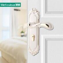 Meticulous European Ivory White Interior Door Lock Indoor Latch Bolt Room  Door Security Panel Steel Lock