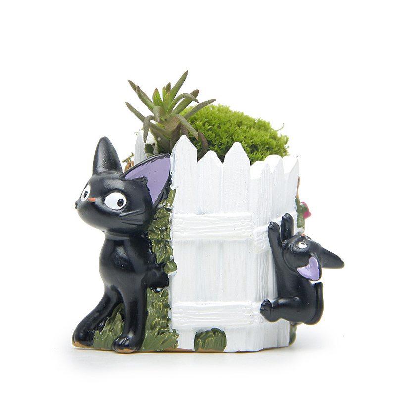 Hayao Miyazaki Black Cat Figurines Succulents Flower Pot Ornament Fairy Miniatures Potted Garden Moss Gnome Decoration Crafts