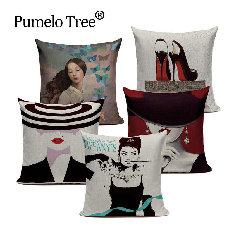 AUDREY HEPBURN PINK ALL OVER CUSHION COVER PILLOW CASE FASHION IDEAL GIFT