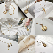925 Silver Coin Necklace for Women Choker Gold Pendant Charm Simple Vintage Boho Bijoux Femme Collier Fashion Jewelry