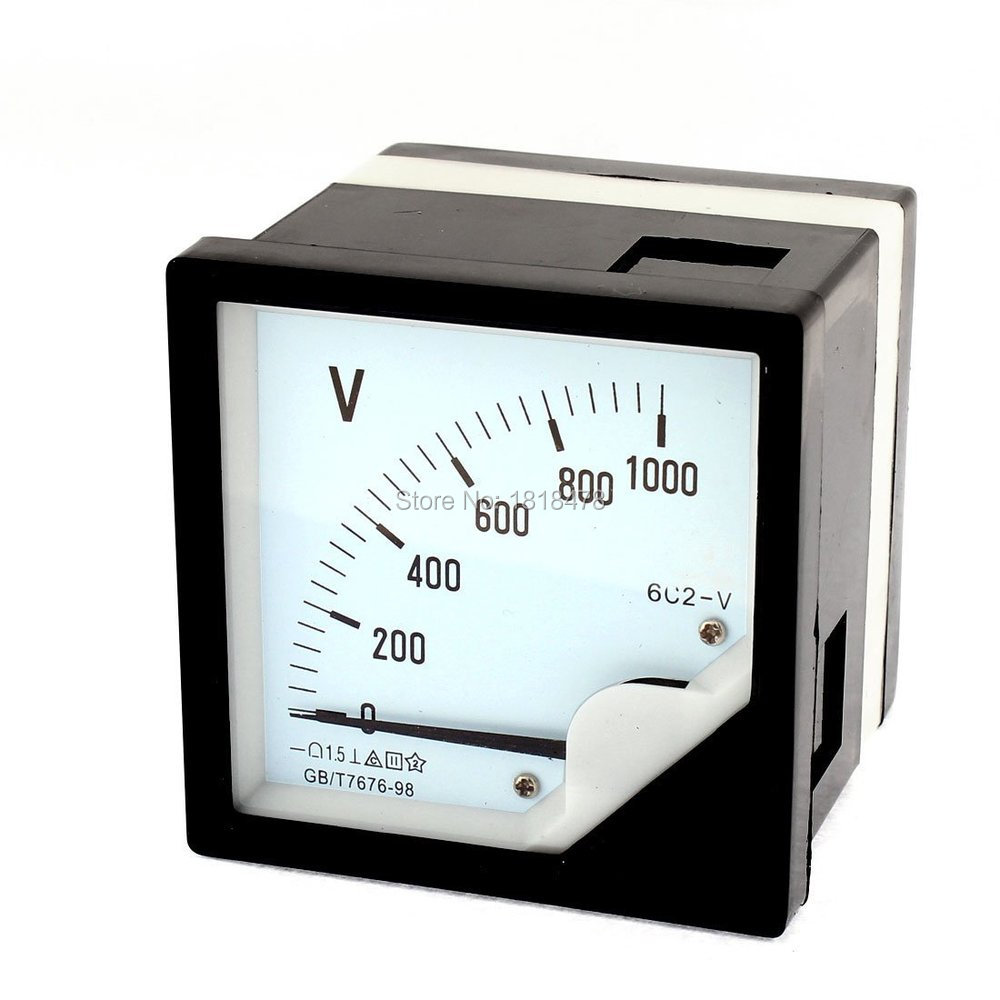 6C2-1000V DC 0-1000V 1.5 Accuracy Panel Analog Voltmeter <font><b>Voltage</b></font> Meter Gauge direct measurement 80*80mm image