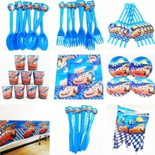 82pcs Disney Lightning McQueen Cars Theme Kids Birthday Party Decoration Set Baby Shower Favors Tablecloth Spoon Suppies