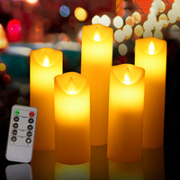 Dancing flame led wax candle powered by AA battery 5pcs/set, Timer remote function led candle for home room lovely night light