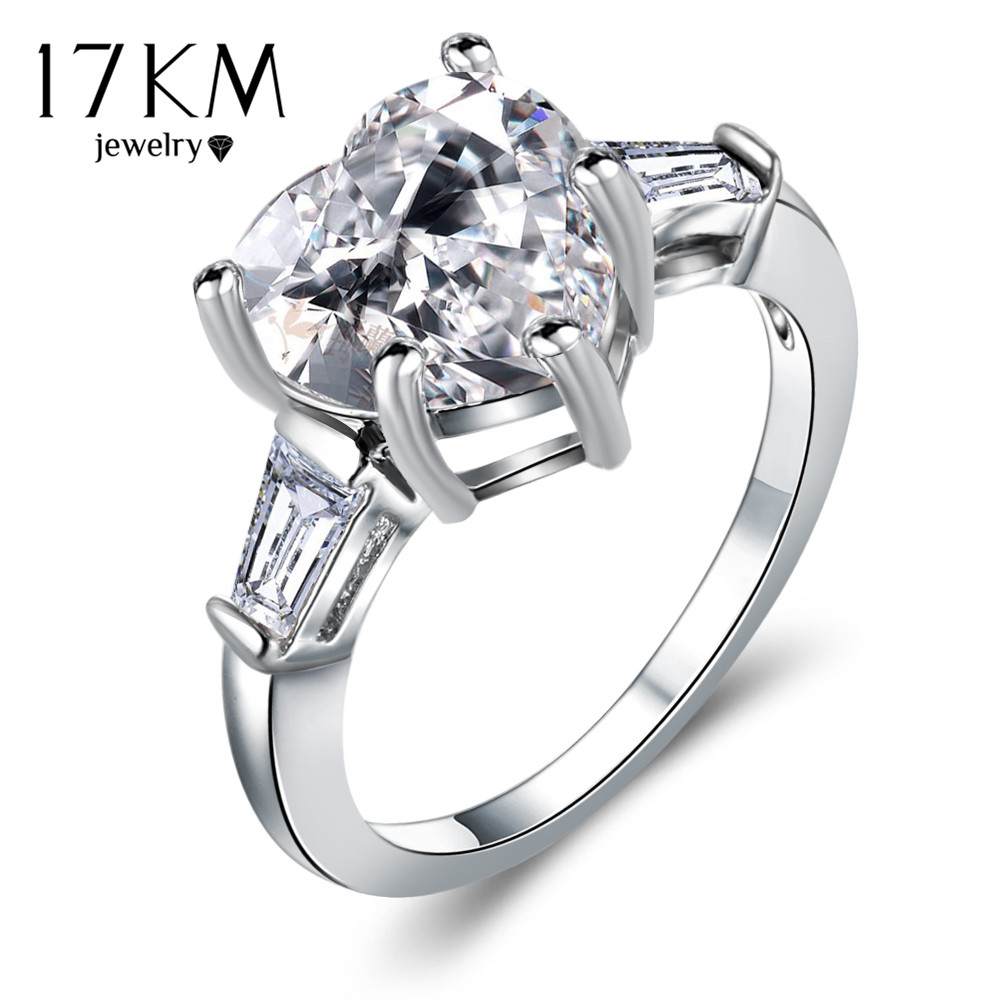 17km Lover Big Cubic Zircon Heart Bridal Rings For Women 2017 Fashion  Silver Color Party Austrian