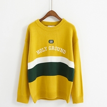Фотография Women Sweaters And Pullovers 2017 New Style Autumn Winter Fashion O-Neck Candy Striped Women Sweater Femme Sweter Mujer