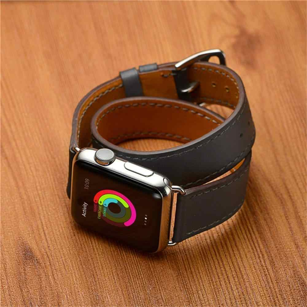 Leather strap For apple watch band 44 mm 38mm iwatch band 42mm 40mm watchband for apple watch 4/3/2 Double Tour correa bracelet