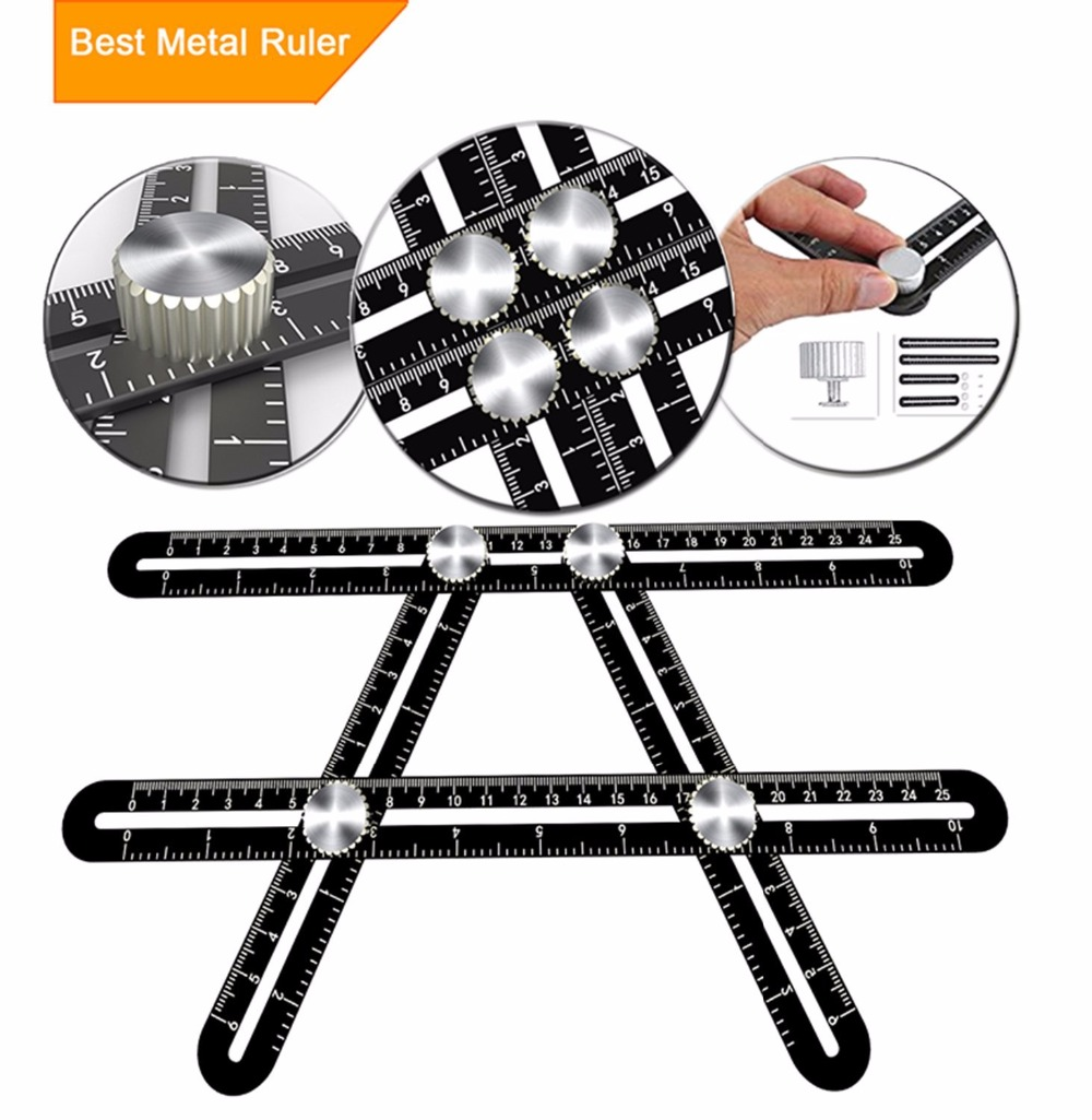 Multi Angle Measuring Ruler Universal Ruler Ultimate Template Tool Ruler Upgraded Aluminum Alloy Multi Function Ruler(Black) multi function aluminum alloy pull back car toy model black 3 x lr1130