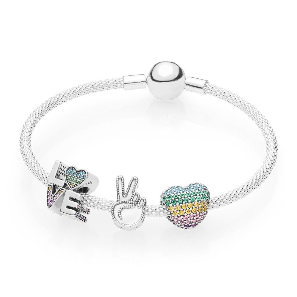 KAKANY PANDOS 2018 Summer NEW 100% 925 Silver Original Rainbow Love the Rainbow Bracelet Set has Logo Womens charming gifts