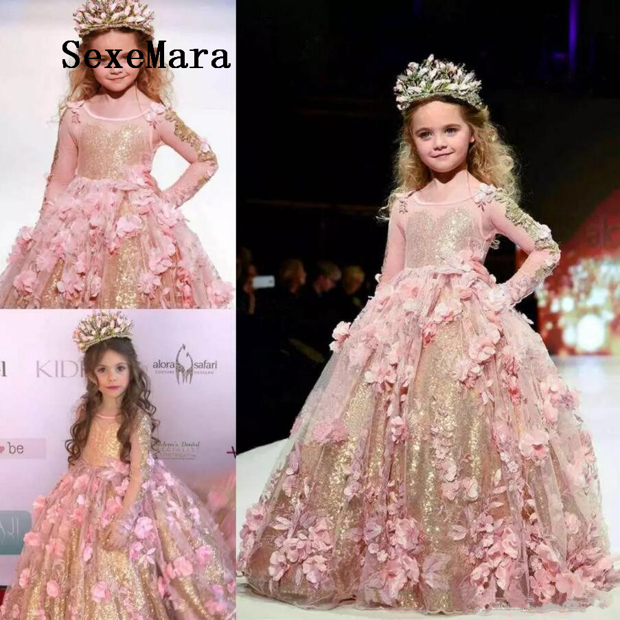 Gold Sequined Ball Gown Girls Pageant Dresses Long Sleeves Toddler Flower Girl Dress Floor Length 3D Appliques Communion Gown ball gown short sleeves knee length summer flower girl dresses girls party pageant communion dress
