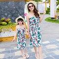 Семья Мода Лето Девушки Платье Богемия Одежда для Мать и Дочь на Пляже Платье