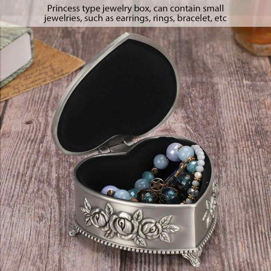 Винтажная шкатулка сердце цветок тиснение серьги футляр для хранения колец Чехол Шкатулка принцессы держатель часов для хранения часов