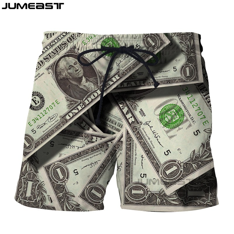 Jumeast Brand Men/Women 3D printed US Dollar   Board     Shorts   Sport Quick Dry Beach Casual Money Sweatpants   Short   Pants