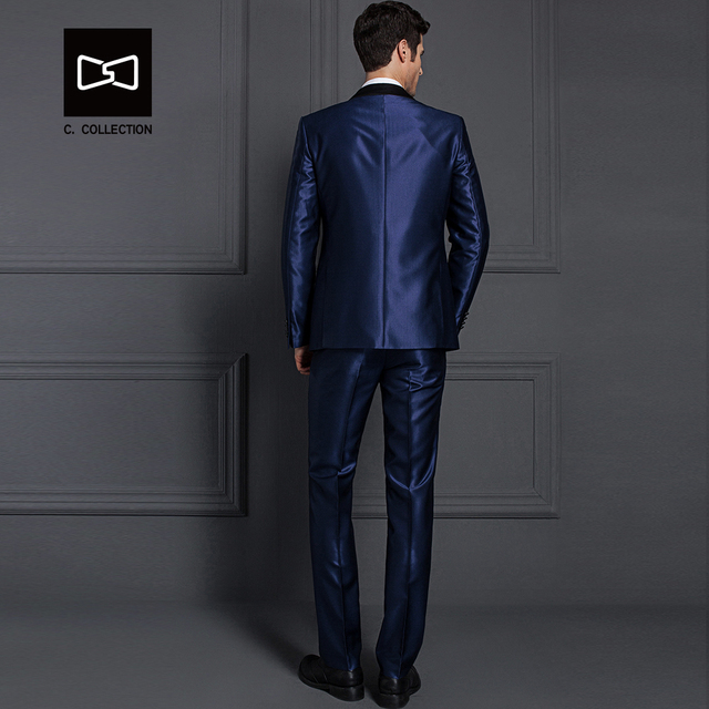 Tailor-made Men Dark Blue Suit Shining Slim fit Wedding Suit Men Tuxedo 2 Pieces(Jacket+Pants)  No.SZ160X2