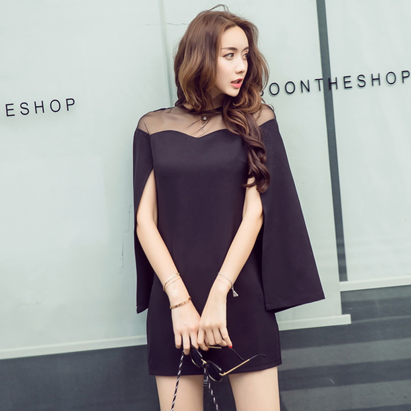 2019 Autumn Runway Designer Cloak Dress Women's High Quality Black pink solid casual Dress Elegant Cape Dress