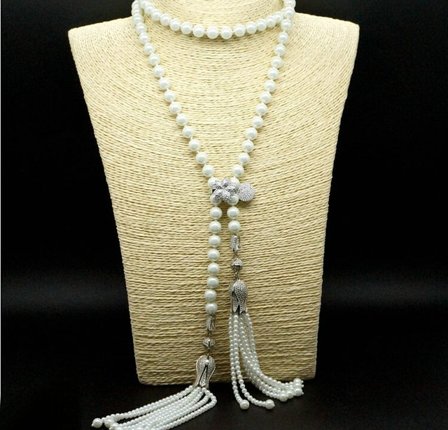 Personality Luxury jewelry AAA cubic zircon micro paved white gold plated synthetic pearl tassel long necklaces for women