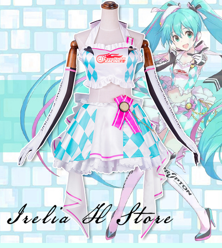 Racing Miku Cosplay Costume VOCALOID Racing car Miku suit cosplay costume dress female sexy costume gift