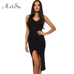 ArtSu Causal Summer Women Solid Dresses Sleeveless Skinny Brand Chic Elegant Sexy Split Long Dress Belt Vestidos ASDR30718 2