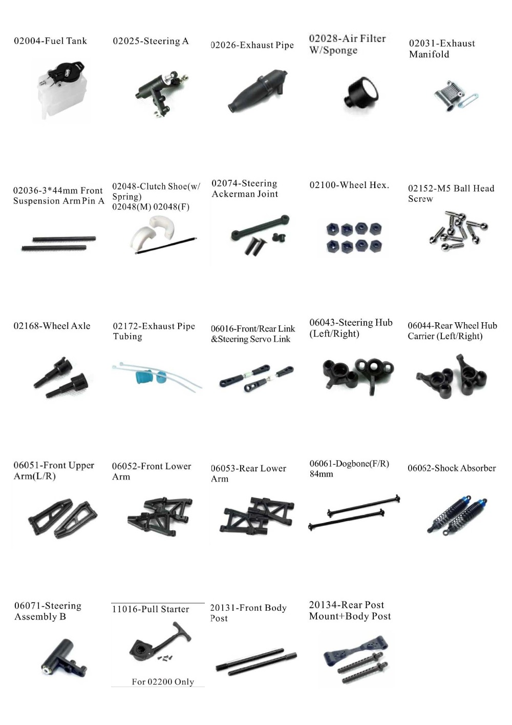 RC CAR SPARE PARTS FOR HSP 1/10 NITRO ON ROAD RACING CAR 94177 (part no. 24 items set)