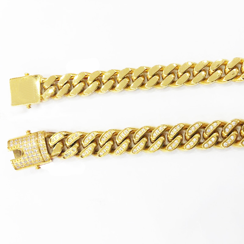 Or rempli hommes femmes chaîne cubaine collier en acier inoxydable Hip Hop glacé Bling bijoux Double sécurité fermoirs 61 cm 10-18mm - 2