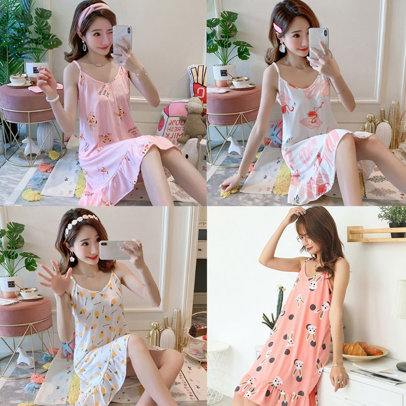 Women Girls Summer Midi Loose Nightdress Spaghetti Straps Cute Cartoon Flamingo Pineapple Print Ruffled Sleepwear With Eye Mask