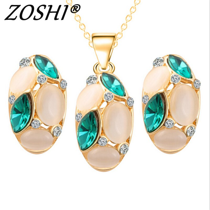 ZOSHI Luxury Austrian Crystal Opal Flower Pendant Jewelry