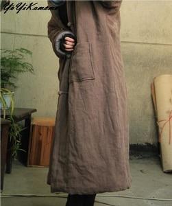 Image 4 - YoYiKamomo Donne Parka Inverno Vintage Caldo A Maniche Lunghe Tasca di Colore Solido Con Cappuccio Spessa Casuale Allentato Breve Cappotto Lungo
