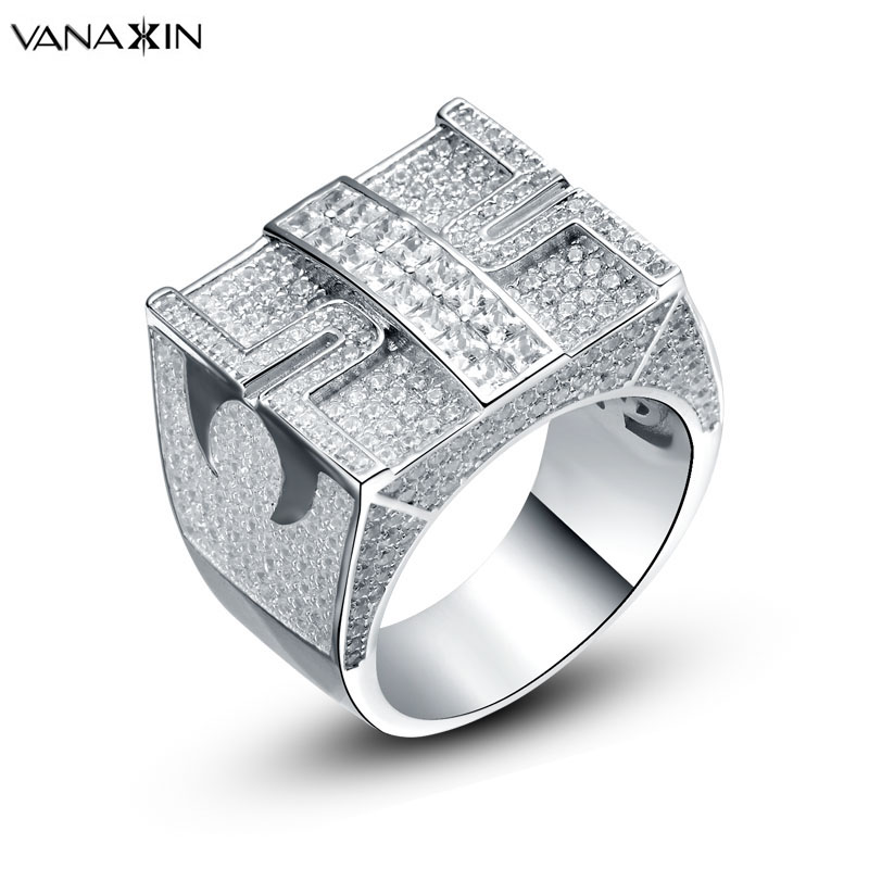 VANAXIN 925 Sterling Fashion Ring Vintage Square AAA Cubic Zircons Hip Hop Silver Rings for Men Gold/Two Tone Color Jewelry Box-in Rings from Jewelry & Accessories    1
