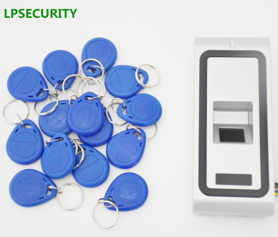 LPSECURITY Standalone metal Fingerprint Biometric access control system rfid 125khz reader door access control with 10 keyfobs
