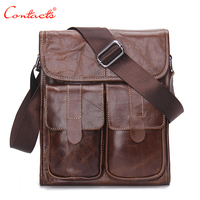 CONTACT S Genuine Leather Men S Fashion Bags Designer Designer Handbags Vintage Retro Cow Shoulder Bags