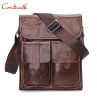 CONTACT S Genuine Leather Men S Fashion Bags Designer Designer Handbags Vintage Retro Cow Shoulder Bags