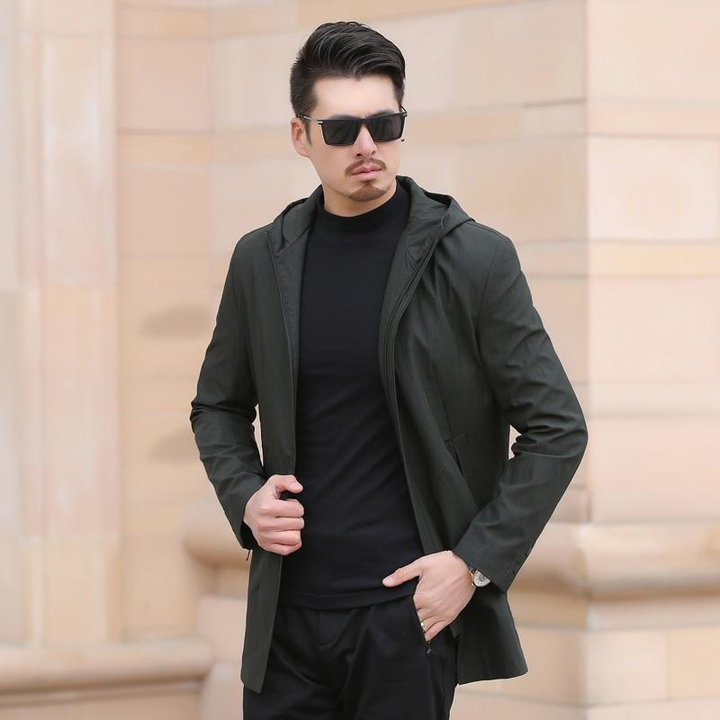 2018 automne Style Britannique Mens Trench Slim Fit Manteaux Longs Hommes D'affaires Vestes Outwear hommes de Haute Qualité Classique brise-vent