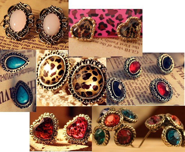 Assorted Romantic Styles Womens Earring Studs Leopard Stripes Spots Heart Shape Flowers Earrings Antique Copper Alloy