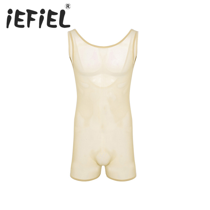 Sexy 2018 Mens One Piece Stretch Mesh See Through Sheer Lingerie Sleeveless Scoop Neck Jockstrap Bodysuit Jumpsuits Underwear