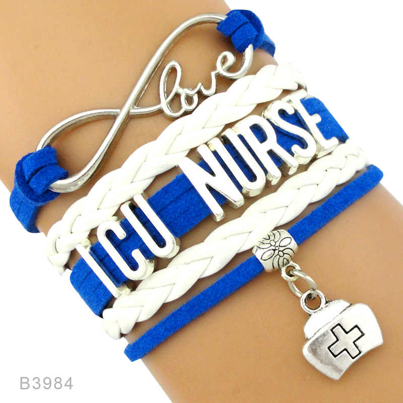 Серебряные браслеты для медсестер Infinity Love, медсестры CNA CMA ICU LPN LVN