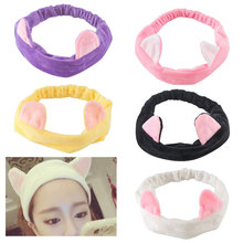 Korean Style Cute Cartoon Cat Ears Headband Women Hair Accessories Wash Shower Make Up Elastic Lovely Hold Bands